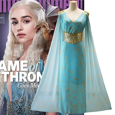 Clothing, Shoes & Accessories/Costumes & Reenactment Attire/Costumes/Women---Game of thrones daenerys targaryen costume cosplay dress fantasia dragon wig halloween costumes for women plus size