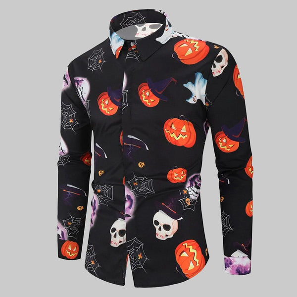 Clothing, Shoes & Accessories/Women's Clothing/Tops & Blouses---Men Shirt Casual Halloween Printed Long sleeve Top Blouse Plus Size hawaiian shirt camisa masculina chemise homme