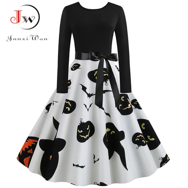 Fashion Women Halloween Dress Pumpkin Print Elegant Black Long Sleeve Autumn Winter Party Plus Size