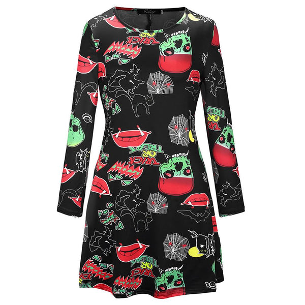 Clothing, Shoes & Accessories/Women's Clothing/Dresses---Zombie Costume Women Halloween Dress Party Club Long Sleeve Vintage A Line Pumpkin Ghost Swing