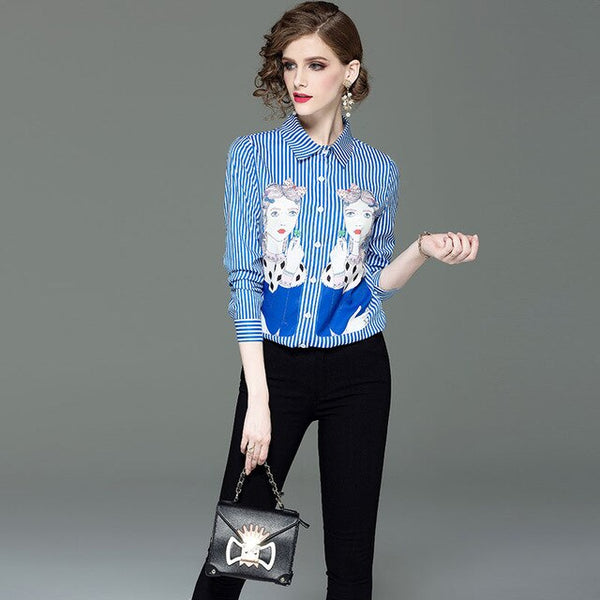 Fashion Lapel long sleeve printed striped breathable shirt with large size