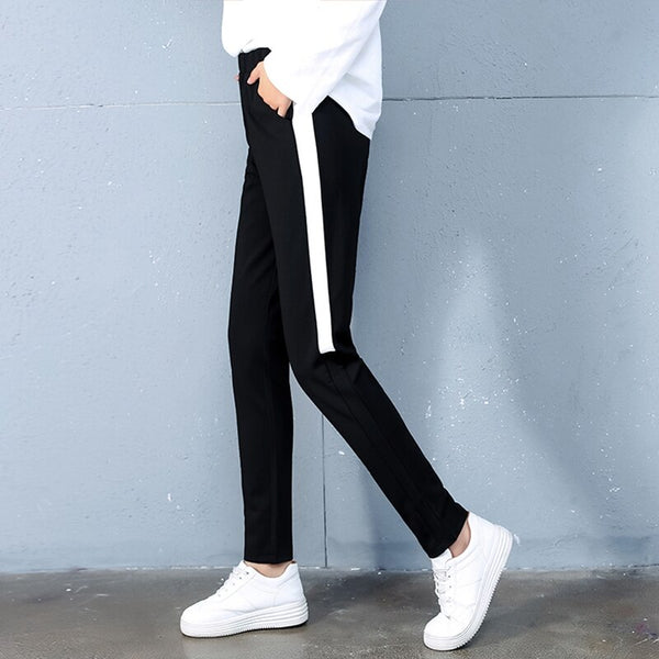 Clothing, Shoes & Accessories/Women's Clothing/Pants---Fashion Side Striped Pants Women Loose Pencil Spring Autumn Casual Sweatpants Elastic Trousers Female