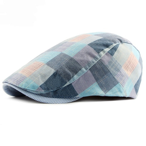 Retro plaid adjustable beret