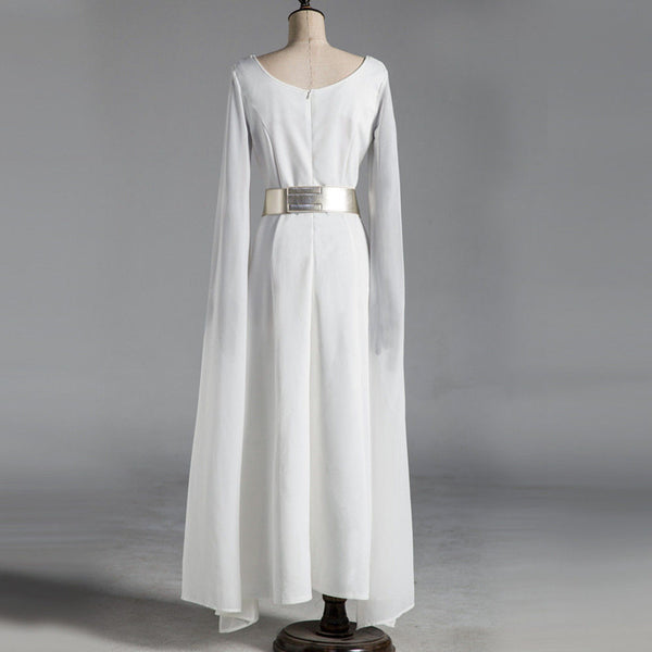 Princess Leia Organa Solo  White Long Dress Wig Set Woman  Cos  Halloween Carnival  Disguisement
