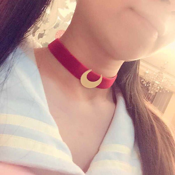 Costumes|||Cosplay|||Anime Merchandise|||Kimonos===Sailor Moon Costume Necklace Collar Velvet belt cosplay Anime Costume accessories Prop