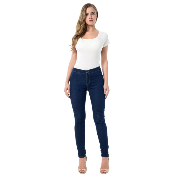 Slim Jeans For Women Skinny High Denim Pencil Pants Elastic Navy Blue