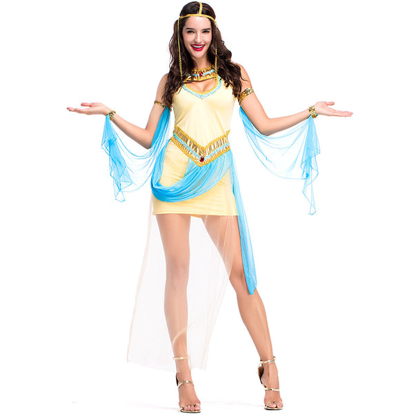 Clothing, Shoes & Accessories/Costumes & Reenactment Attire/Costumes/Women---Umorden Women's Sexy Queen Cleopatra Costume Yellow Mesh Dress Fancy Halloween Purim Party