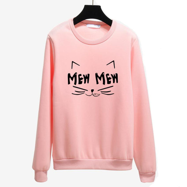 Cute Cat Mew Sweatshirts Women Hoody Autumn Winter Loose Black Pullover Female Long Sleeves Casual Girl Tracksuit