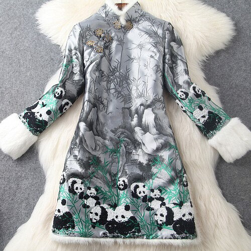 autumn and winter women's quilted padded warm panda bamboo embroidery stand collar hair sleeves fashion dress coat