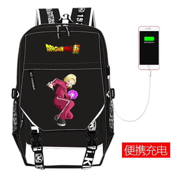 Dragon Ball Z Backpack Cosplay Dragon Ball Super USB Charging Backpack Super Saiyan Schoolbag Travel Bags Laptop Shoulders Bag