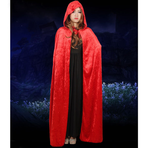 Umorden Costume for Women Hooded Death Elf Magician Witch Cloak Cape Robe Fantasia Adulto Cosplay Black Red Blue