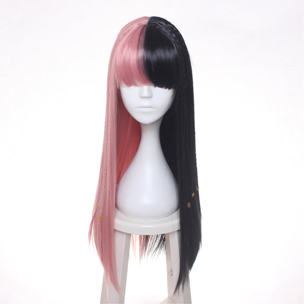 ccutoo Female's Melanie Martinez Synthetic Half Black and Pink 8 Small Braids Hair  Costume  Heat Resistance Fiber (Muli Color 30inches)