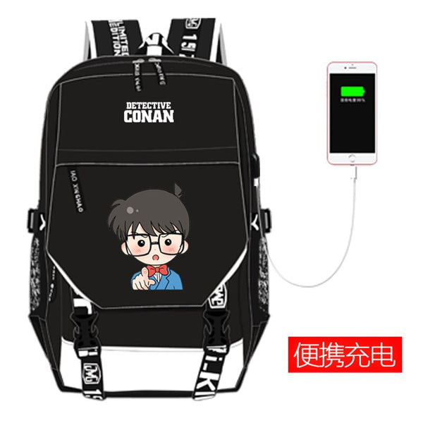 Costumes|||Cosplay|||Anime Merchandise|||Anime Bags|||Anime Backpacks===High Quality Detective Conan Case Closed Printing Backpack Kaitou Kiddo Cosplay School Bags USB Charging Laptop Backpack Rugzak