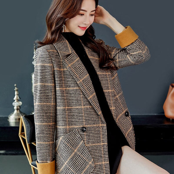 Winter Long Jackets Women Basic Jacket Coats Plaid Sleeve Causal Windbreaker Famale Woolen Coat