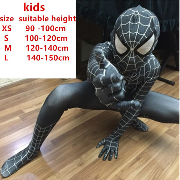Costumes|||Cosplay|||Movie TV Drama Cosplay Costumes|||Marvel Comics===spiderman costume kids girl child the amazing spider man mask costume suit boys lycra black red halloween adult men Cosplay
