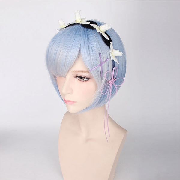Costumes|||Cosplay|||Game Cosplay Costumes|||Kingdom Hearts Cosplay===Re:Life In A Different World From Zero Graduated Ram Rem Cosplay Wig for Women Short Straight Pink Blue Anime Wig