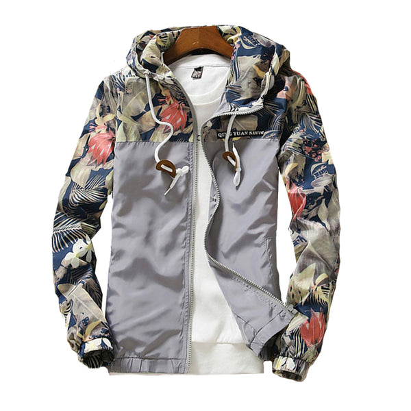 Clothing, Shoes & Accessories/Women's Clothing/Coats & Jackets---Women's Hooded Jackets Spring Causal Flowers Windbreaker Basic Coats Zipper Lightweight Bomber Famale