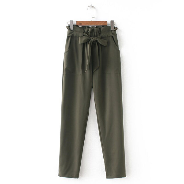 Summer Style Casual Multicolor Lacing Pants High Waist Chiffon Stringy selvedge New Trousers