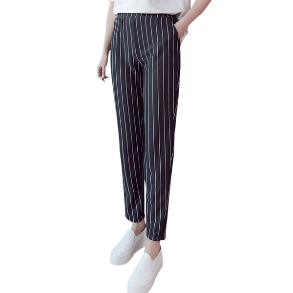 Spring Autumn female fashion elastic waist casual pencil pants stripes harem work wear Trousers
