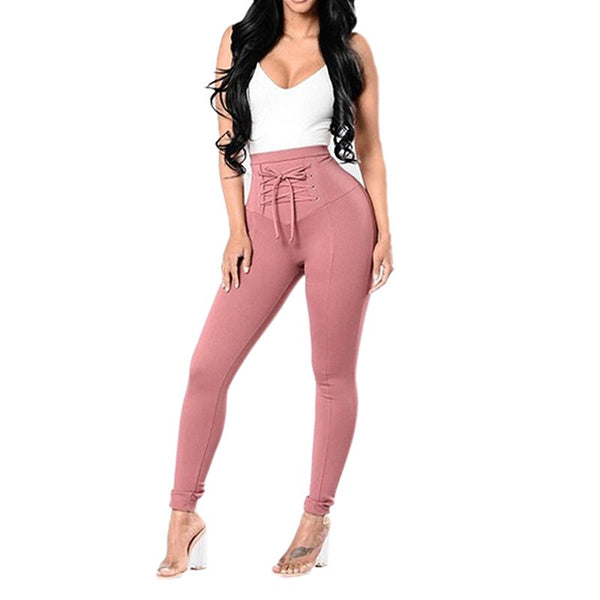 Women Fashion Solid Color High Waist Skinny Stretch Leggings Long Pants Ladies Elegant Lace Up Pencil Trousers