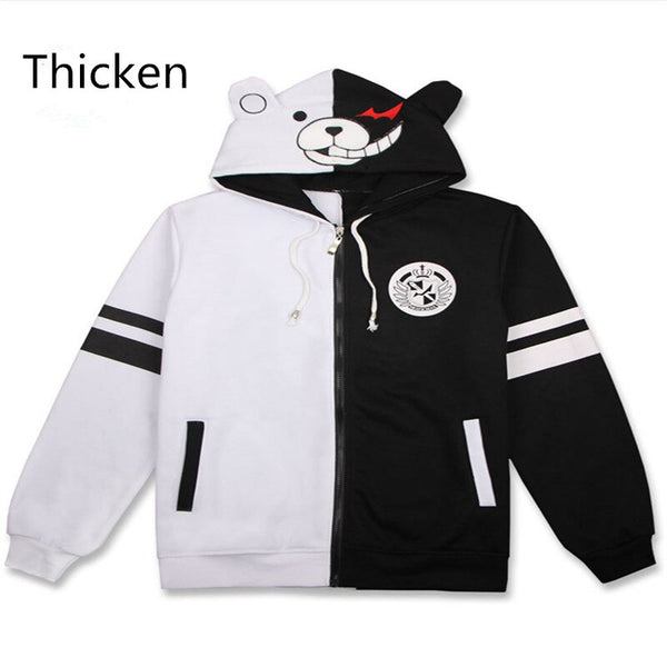 Anime Danganronpa Monokuma Cosplay Costume Unisex Hoodie Sweatshirt Hooded Black White Bear Long Sleeve daily casual Jacket