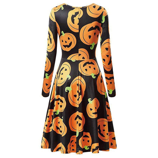 Clothing, Shoes & Accessories/Women's Clothing/Dresses---Halloween Dress Women COS Fashion Pumpkin Print Long Sleeve Casual Winter Christmas Spring Autumn
