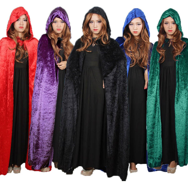Clothing, Shoes & Accessories/Costumes & Reenactment Attire/Accessories/Capes & Cloaks---Umorden Costume for Women Hooded Death Elf Magician Witch Cloak Cape Robe Fantasia Adulto Cosplay Black Red Blue