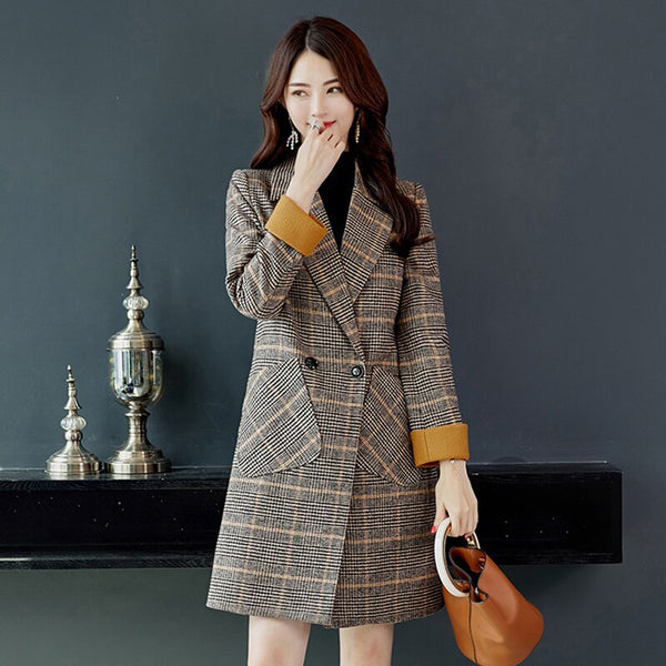 Clothing, Shoes & Accessories/Women's Clothing/Coats & Jackets---Winter Long Jackets Women Basic Jacket Coats Plaid Sleeve Causal Windbreaker Famale Woolen Coat