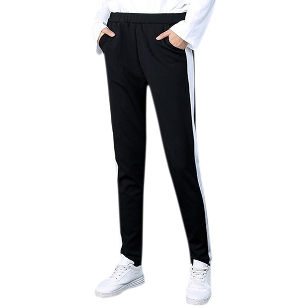 Fashion Side Striped Pants Women Loose Pencil Spring Autumn Casual Sweatpants Elastic Trousers Female