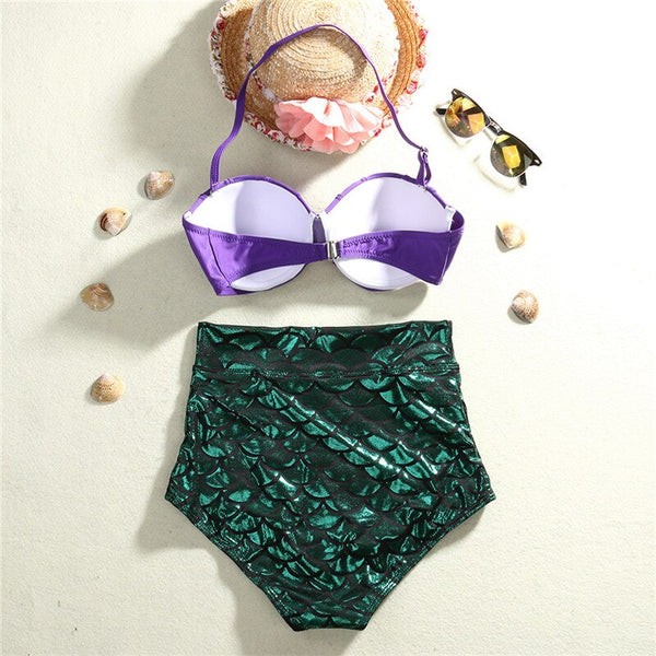 Costumes|||Cosplay|||Anime Merchandise|||School Swimsuit===2016 retro mermaid swimsuit underwire push up high waist bikini set sexy women swimwear cosplay bathing suits biquni