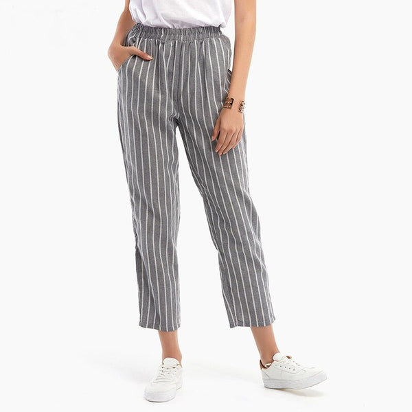 Fashion Women Elastic Waist Striped Pants Spring Summer Casual Pockets Cotton Linen Loose Trousers Plus Size