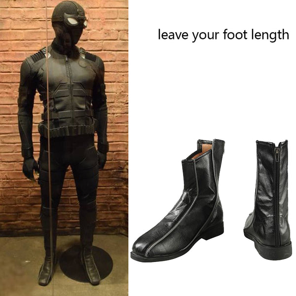 Costumes|||Cosplay|||Movie TV Drama Cosplay Costumes|||Marvel Comics===Spider-Man Far From Home Stealth Suit Costume Spiderman Noir Cosplay Boots Superhero Halloween Carnival Men Shoes Custom Made