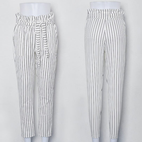 Clothing, Shoes & Accessories/Women's Clothing/Pants---New Striped OL chiffon high waist harem women stringyselvedge summer style casual female trousers White