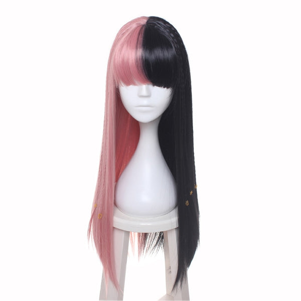 Costumes|||Cosplay|||Cosplay Wigs===ccutoo Female's Melanie Martinez Synthetic Half Black and Pink 8 Small Braids Hair Cosplay Costume Wigs Heat Resistance Fiber