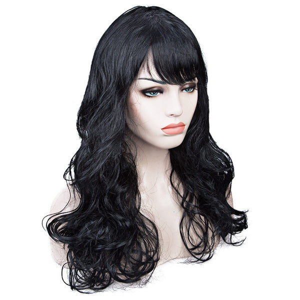Costumes|||Cosplay|||Cosplay Wigs|||Miscellaneous===Women's Medium Long Curly Wavy Hair Cosplay Wig with Oblique Bangs Japan COS Anime Costume Party Wigs Wig Cap Multicolor