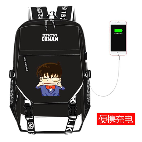 High Quality Detective Conan Case Closed Printing Backpack Kaitou Kiddo Cosplay School Bags USB Charging Laptop Backpack Rugzak