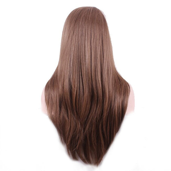 WoodFestival Heat Resistant Mix Color Brown Synthetic Wig Long Straight   for Women