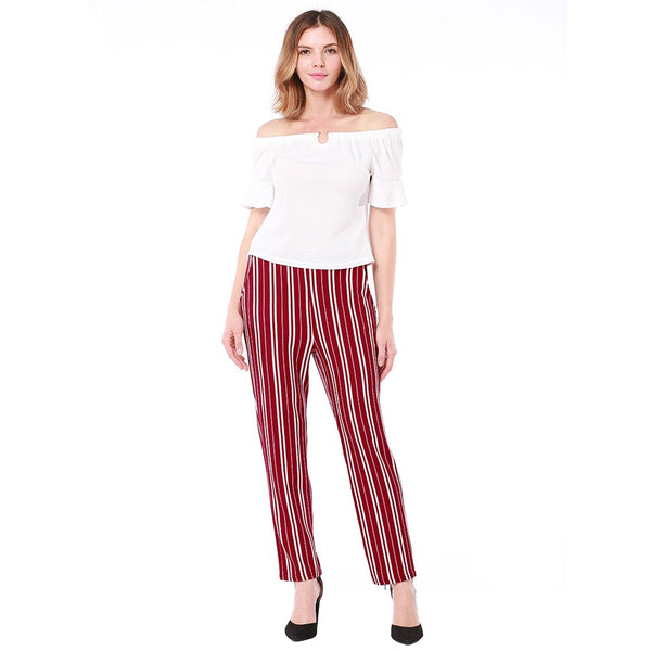 Clothing, Shoes & Accessories/Women's Clothing/Pants---New Fashion Elastic Waist Striped Pants casual pants Pocket Mid Waisted Straight Female