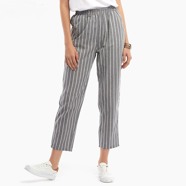 Clothing, Shoes & Accessories/Women's Clothing/Pants---Fashion Women Elastic Waist Striped Pants Spring Summer Casual Pockets Cotton Linen Loose Trousers Plus Size