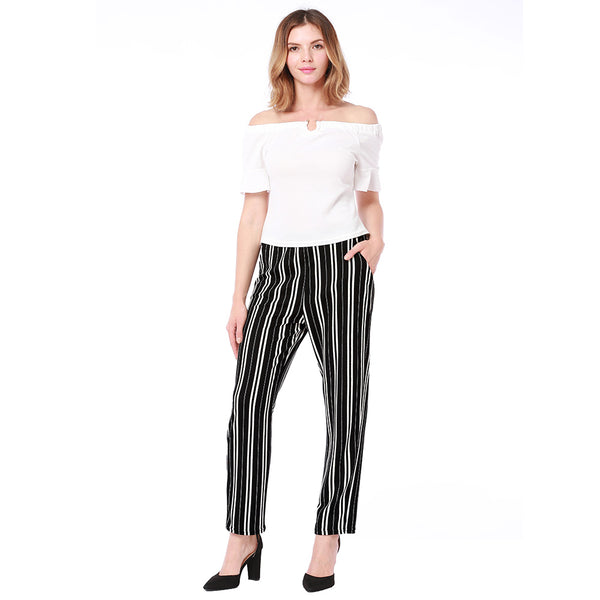 New Fashion Elastic Waist Striped Pants casual pants Pocket Mid Waisted Straight Female