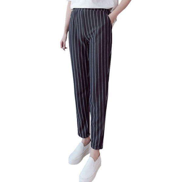Clothing, Shoes & Accessories/Women's Clothing/Pants---Spring Autumn female fashion elastic waist casual pencil pants stripes harem work wear Trousers