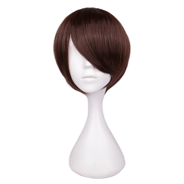 Costumes|||Cosplay|||Cosplay Wigs===QQXCAIW Short Hair Cosplay Wig Male Party 30 Cm Black White Purple High Temperature Fiber Synthetic Hair Wigs