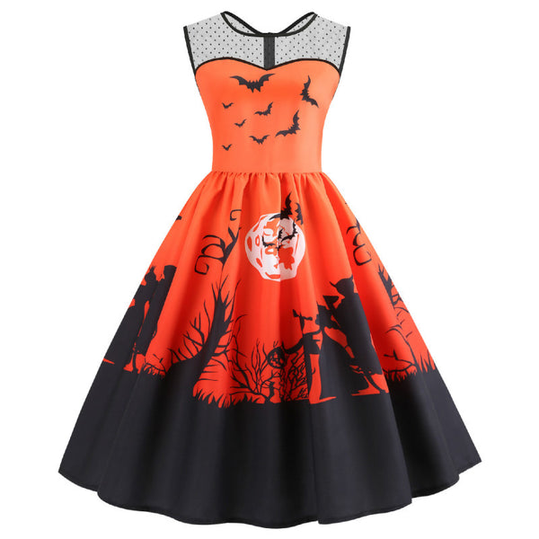 Vintage Women Halloween Dresses Retro Sexy Lace Dress One Line Pumpkin Swing Party Midi S Verano