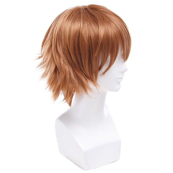 Costumes|||Cosplay|||Cosplay Wigs|||Miscellaneous===L-email wig Brand New Men Ouma Shu Cosplay Wigs 30cm/11.81inches Brown Heat Resistant Short Synthetic Hair Perucas Cosplay Wig