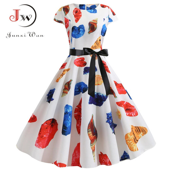 Pumpkin Print Halloween Dress Women Summer O Short Sleeve Party robe femme Elegant Vintage Dresses Plus Size