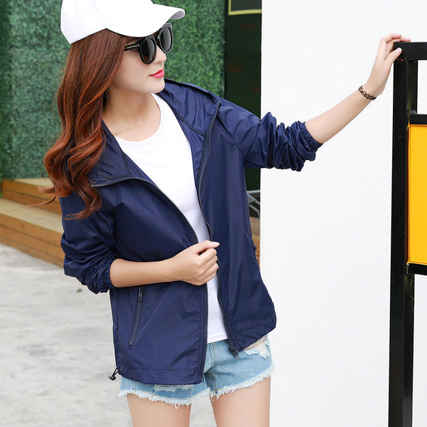 Women's Hooded Jackets Summer Causal Fashion Women Coats windbreaker Zipper Lightweight Bomber Famale