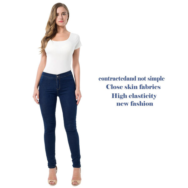 [图片尺码表]Clothing, Shoes & Accessories/Women's Clothing/Jeans---Slim Jeans For Women Skinny High Denim Pencil Pants Elastic Navy Blue