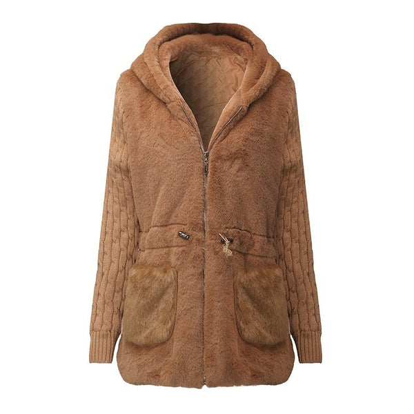 Clothing, Shoes & Accessories/Women's Clothing/Coats & Jackets---Hooded Jackets CoatsCoat Women Spring Outwear Patchwork Thick Warm Luxury Knitted Coats Long Coat