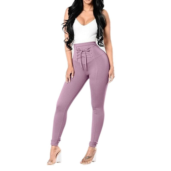 Clothing, Shoes & Accessories/Women's Clothing/Pants---Women Fashion Solid Color High Waist Skinny Stretch Leggings Long Pants Ladies Elegant Lace Up Pencil Trousers