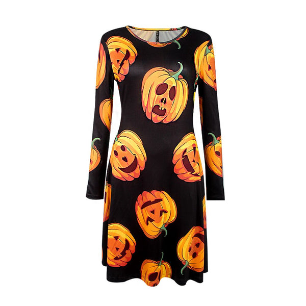 Clothing, Shoes & Accessories/Women's Clothing/Dresses---Autumn Winter Halloween Christmas Women's Dresses Print Long O-Neck Female Dress Clothes Festival dress